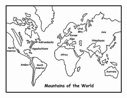 Map Coloring Mountains Pages Andes Mountain Printable