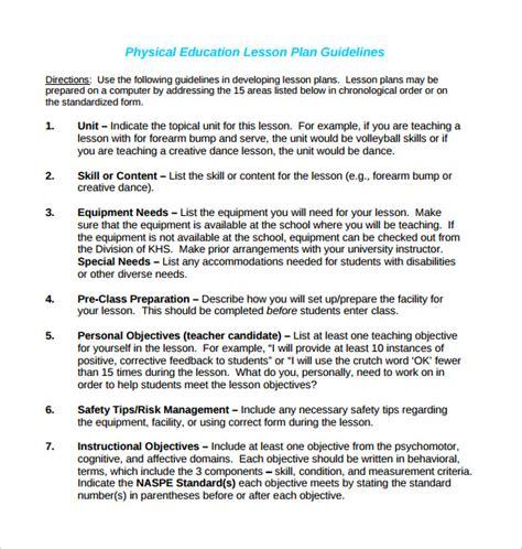 coe lesson plan 15 sle physical education lesson plans sle templates