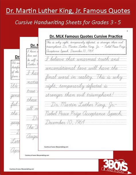 Black History Month Printables Cursive Martin Luther King Handwriting Worksheets  3 Boys And A Dog