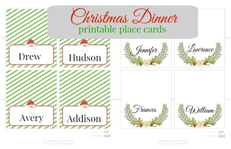 Place Card Templates Freechristmas Template Printable Place Cards Pinkwhen