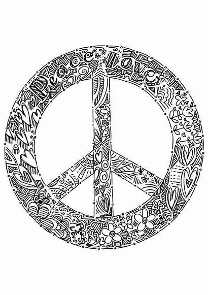 Peace Coloring Pages Sign Printable Symbol Mandala