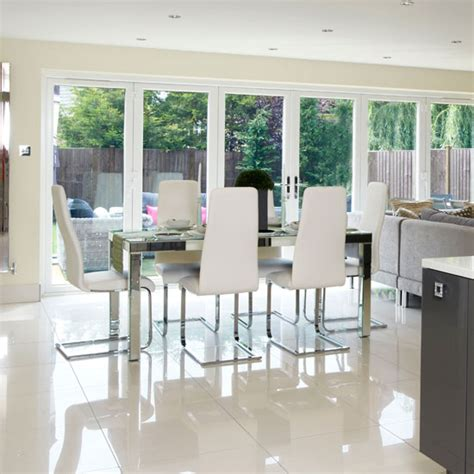 chic dining room  bi fold doors ideal home