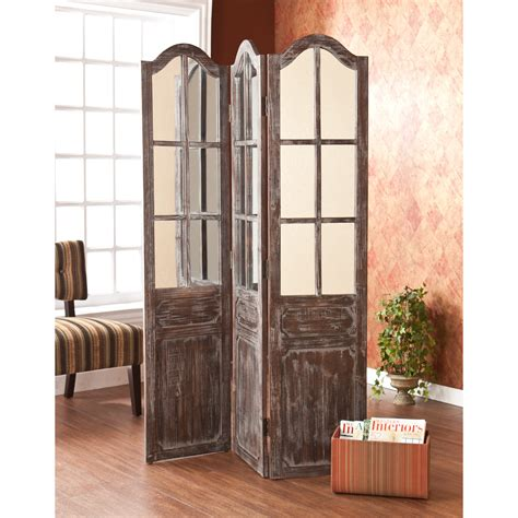 Distressed Wooden Railings 6 Foot Room Divider With Light