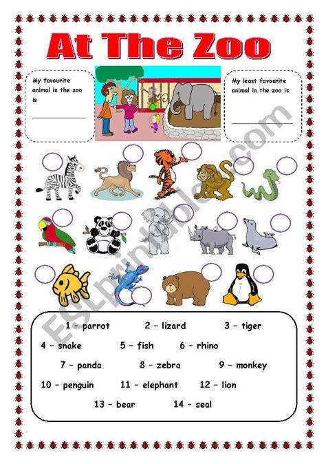 zoo animals esl worksheet  trixie