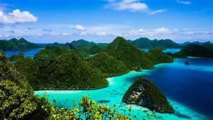 Desktop, Wallpaper, Hd, Blue, Ocean, Island, Green, Forest, Raja, Ampat, Indonesia, Wallpapers13, Com
