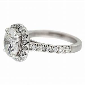 Round diamond with halo engagement ring mouradian custom for Diamond wedding ring images