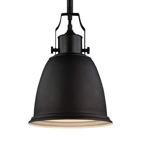 feiss hobson 1 light rubbed bronze pendant p1358orb