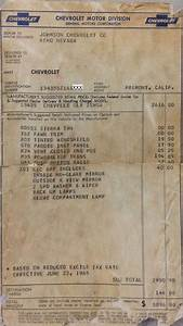 1965 Chevelle Miscellaneous Paperwork