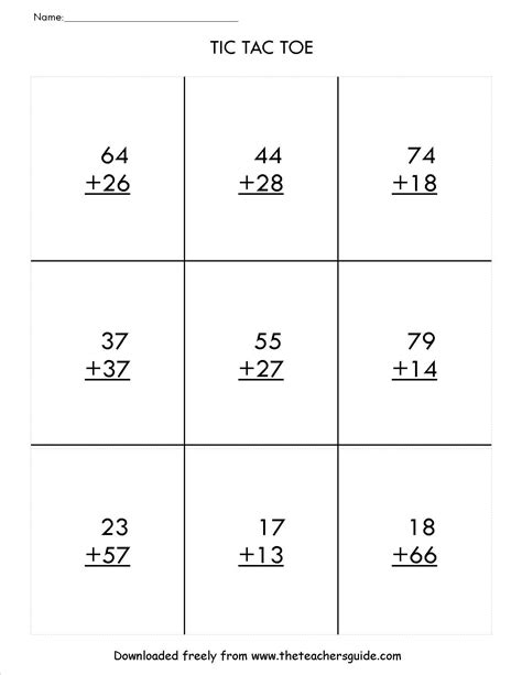 2nd grade math worksheet 2 digit addition two digit addition with regrouping tic tac toe math