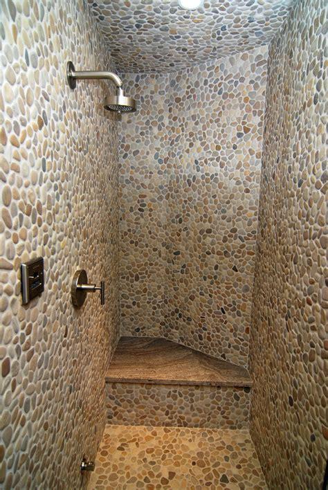 bathroom pebble tiles  create   surface