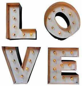 light up marquee block letters quotlovequot industrial wall With lighted block letters