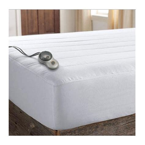 sunbeam heated mattress pad sunbeam quilted striped heated electric mattress pad
