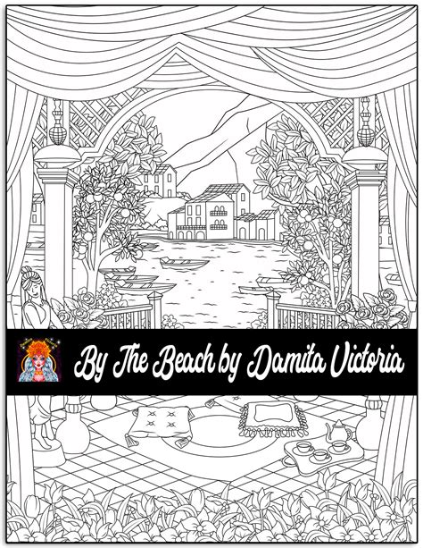 adult coloring book   beach calming coloring books  adults featuring seaside life