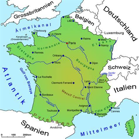 frankreich landkarte geografie laender frankreich