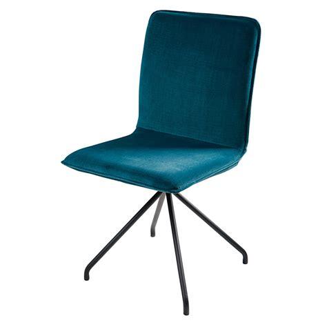 Chaise En Velours Bleu Et Métal Noir Ellipse  Maisons Du