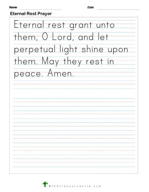 eternal rest prayer print  resource site
