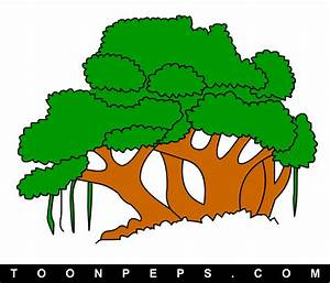 Free coloring pages of banyan tree drawing