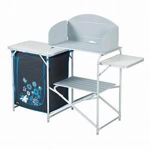 Meuble Cuisine Desserte : meuble camping meuble cuisine camping avec desserte trigano gris turquoise trigano ~ Teatrodelosmanantiales.com Idées de Décoration