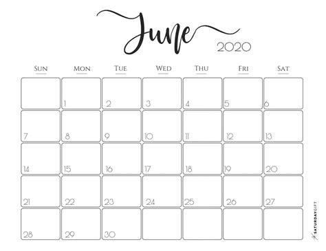 cute  printable june  calendar