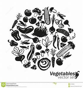Vegetables Vector Black Icons On White Background Stock ...