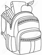 Backpack Clipart Illustration Drawing Coloring Outlined Bookbag Vector Getdrawings Library Clip Depositphotos Yayayoyo sketch template