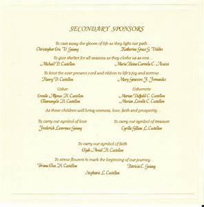 Wedding invitation wording secondary sponsors yas with for Sample wedding invitation secondary sponsors