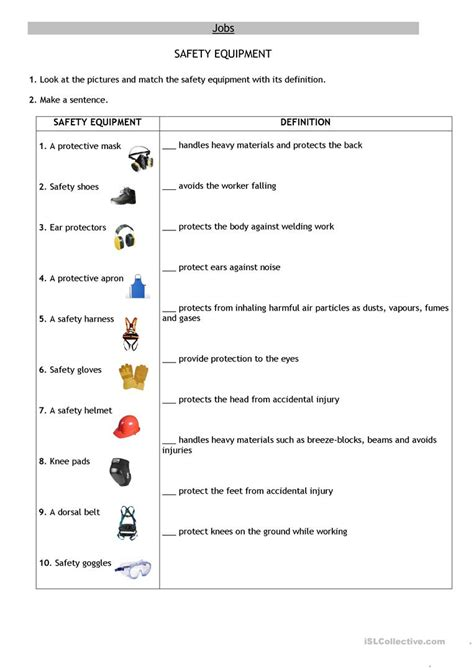 safety equipment worksheet  esl printable worksheets