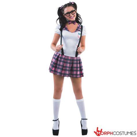 Sexy Schoolgirl Costume Womens Geek Nerd School Girl Fancy Dress for Hen Party | eBay