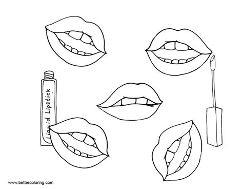 Coloring With Makeup by Makeup Coloring Pages Lipsticks Free Printable Coloring