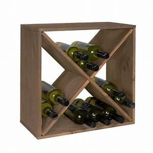 Casier à bouteilles en bois empilable Rangement cave