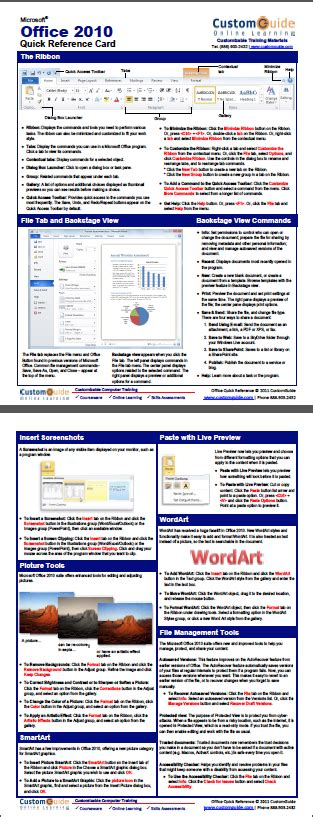 Office Cheats by Free Office 2010 Reference Card Http Www