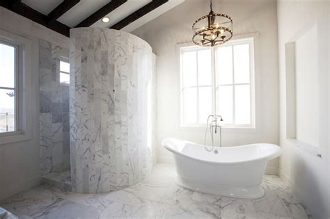 curved marble shower transitional bathroom southern