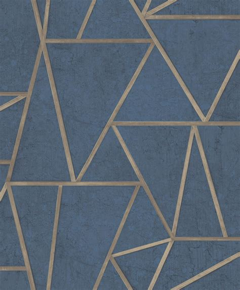 Tapete Muster Blau by Tapete Vlies Dreiecke Blau Gold Glanz Exposure Ep3704