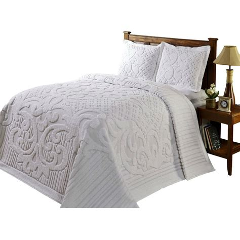 queen size  piece  percent cotton chenille bedspread