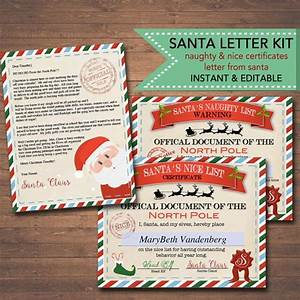 editable nice naughty certificates santa letter christmas With santa letter and certificate