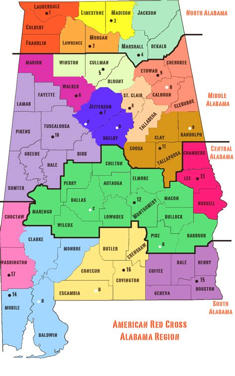 Alabama State Map Counties Cities