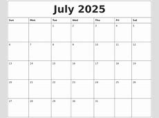 July 2025 Calendar Printables