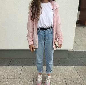 Boyfriend jeans clothes fashion pink tumblr - image ...