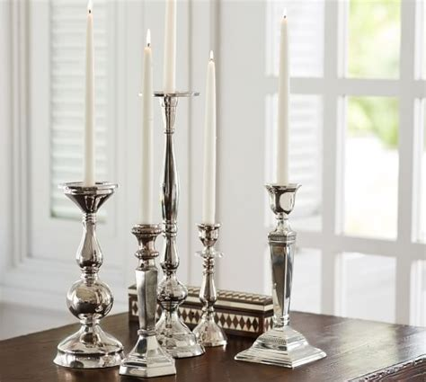 pottery barn candle holders eclectic silver plated candlesticks pottery barn