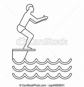 Dessin De Piscine : simple ic ne style sauter piscine toile contour ~ Melissatoandfro.com Idées de Décoration