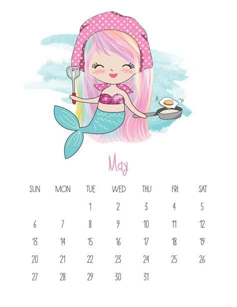 printable  kawaii mermaid calendar kids