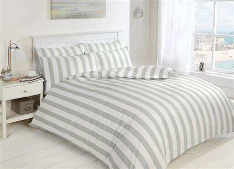 Easy Care Morley Stripe Bed Set, Grey And White, Luxury