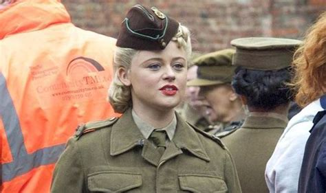 emily atack movies emily atack works full military uniform while filming dad