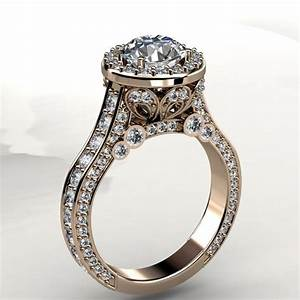 65mm forever brilliant moissanite and diamond halo for Gold and white gold wedding rings
