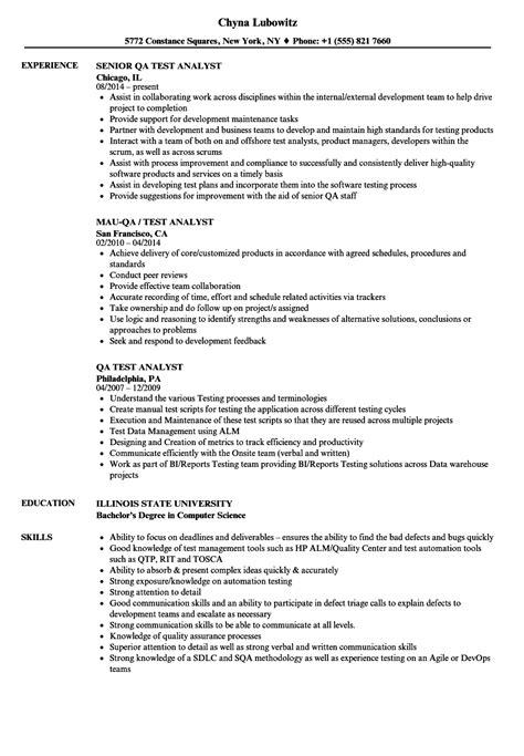 qa test analyst resume samples velvet jobs