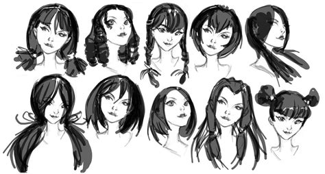 girl hairstyles drawing reference  sketches  artists