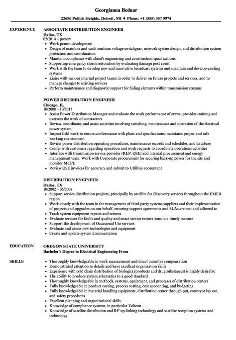 distribution engineer resume sles velvet