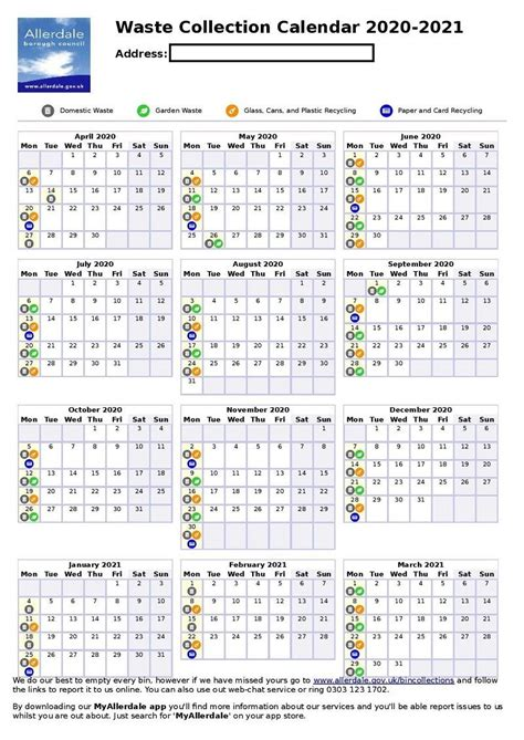 printable yearly bin collection calendar launched  allerdale