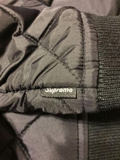 supreme sequin patch quilted bomber black jwong boutique