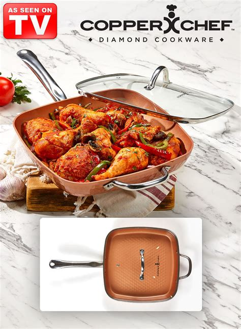 copper chef diamond pan  square  lid feelgood store